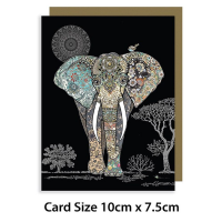 Elephant Gold Foil Art Embossed, MINI CARDS, Pack of 3